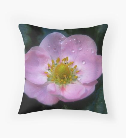 Pink Strawberry Flower Throw Pillow
