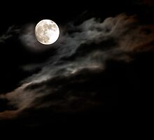Moon Rising through Clouds by Mary Ann Reilly