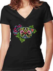 Day of the Dead Pug in Black Sugar Skull Dog Women's Fitted V-Neck T-Shirt