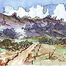 Landscape sketch with colour by Maree Clarkson
