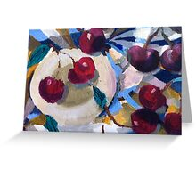 Still life with cherries and tablecloth Greeting Card