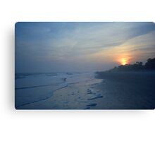 Beach and Sunset Canvas Print