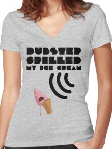 Dubstep Spilled My Icecream - strawberry Women's Fitted V-Neck T-Shirt