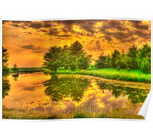 Sunset on the Pond Poster
