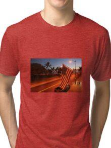 Waikiki Beach by Night, Honolulu OAHU Tri-blend T-Shirt