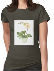Botanical Orchid in a Green Pot Womens Fitted T-Shirt