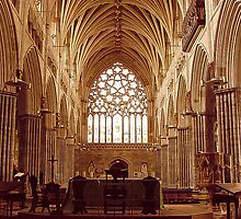 Exeter Cathedral - Main Nave towards the West Window by Andrew  Bailey