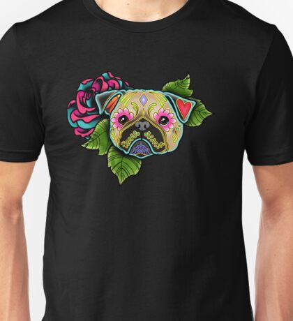 Day of the Dead Pug in Fawn Sugar Skull Dog Unisex T-Shirt