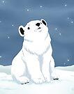 Polar bear cub in snow by Tunnelfrog