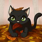 Kitty playing in autumn leaves by Tunnelfrog