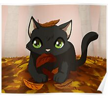 Kitty playing in autumn leaves Poster