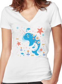 Narwhal & Babies Women's Fitted V-Neck T-Shirt