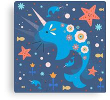 Narwhal & Babies Canvas Print