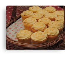 Lemon Cupcake Basket Canvas Print