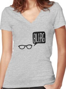 BLERG! Women's Fitted V-Neck T-Shirt