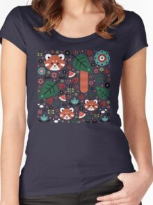 Red Panda & Cubs Women's Fitted Scoop T-Shirt