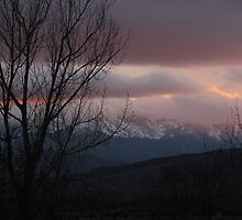 """""""Winter Clouds Low At Sundown Over Pike's Peak"""" by dfrahm"""