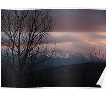 """""""Winter Clouds Low At Sundown Over Pike's Peak"""" Poster"""