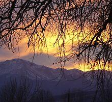 """Orange Sundown Over Pike's Peak"" by dfrahm"