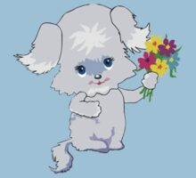 Cute Pup with Flowers Kids Tee