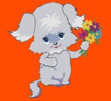 Cute Pup with Flowers Kids Tee