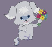 Cute Pup with Flowers Kids Clothes