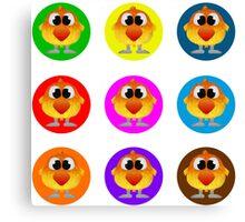 Little Birds in Vibrant Colors Canvas Print