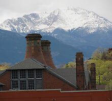 """Pike's Peak With Van Briggle Smoke Stacks"" by dfrahm"