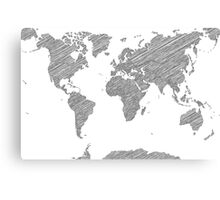 Sketchy Map of the World Canvas Print