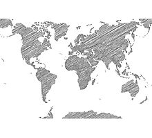 Sketchy Map of the World Photographic Print