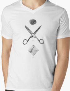 ROCK / SCISSORS / PAPER Mens V-Neck T-Shirt