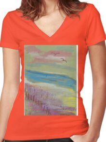 Ocean's View #2 Women's Fitted V-Neck T-Shirt