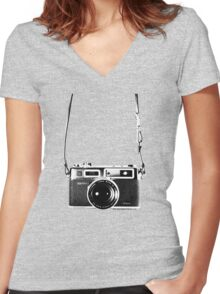 Vintage 35mm Rangefinder Camera Yashica Electro 35 GSN Women's Fitted V-Neck T-Shirt