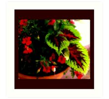 Leaves and Red Flowers Art Print