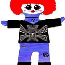 Little Punk Rock / Goth Rag Doll Wearing Mommy's Art 3 by Deborah Lazarus