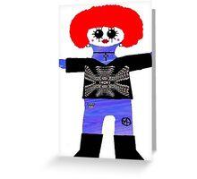 Little Punk Rock / Goth Rag Doll Wearing Mommy's Art 3 Greeting Card
