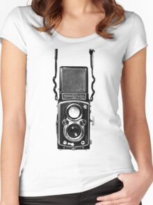 Vintage Medium Format Camera Rolleiflex Twin Lens Reflex (TLR) Women's Fitted Scoop T-Shirt