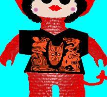 Little Devil In Disguise Rag Doll Wearing Mommy's Art 5 by Deborah Lazarus