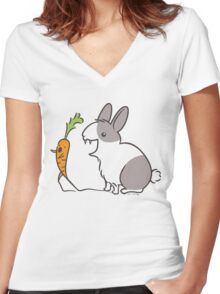 Vampire Bunny Rabbit with Unfortunate Carrot Women's Fitted V-Neck T-Shirt