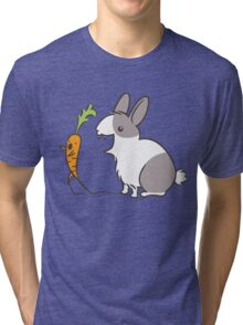 Vampire Bunny Rabbit with Unfortunate Carrot Tri-blend T-Shirt