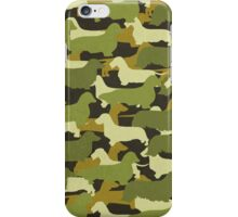Distressed Camo Dachshund Silhouettes  iPhone Case/Skin
