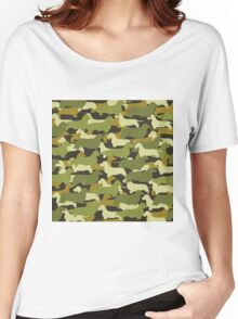 Distressed Camo Dachshund Silhouettes  Women's Relaxed Fit T-Shirt