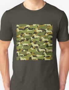 Distressed Camo Dachshund Silhouettes  Unisex T-Shirt