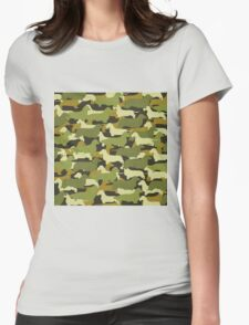 Distressed Camo Dachshund Silhouettes  Womens Fitted T-Shirt