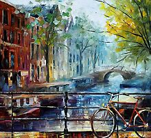 Amsterdam  - original oil painting on canvas by Leonid Afremov by Leonid  Afremov