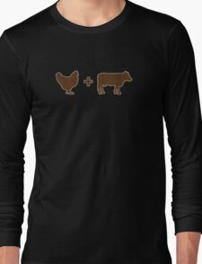 Vintage Brown Chicken Brown Cow Long Sleeve T-Shirt