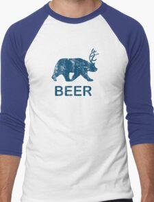 Vintage Beer Bear Deer Men's Baseball ¾ T-Shirt