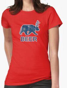 Vintage Beer Bear Deer Womens Fitted T-Shirt