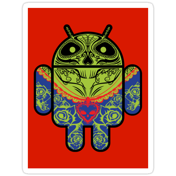 Dia de los Android Muertos STICKER by Vincent Carrozza