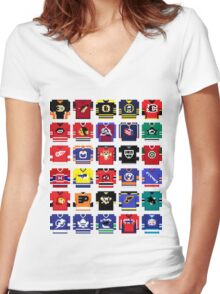 8-Bit Hockey Jerseys '16 Women's Fitted V-Neck T-Shirt